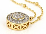 White Cubic Zirconia 1k Yellow Gold Necklace 0.34ctw