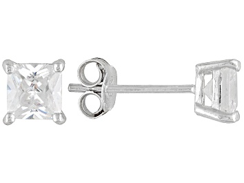 Picture of Bella Luce® 2.00ctw 5x5mm Princess Cut Rhodium Over Sterling Silver Stud Earrings