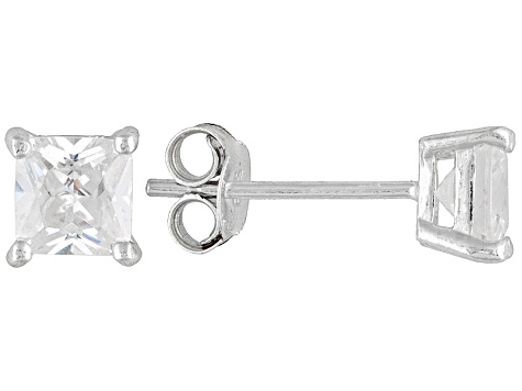 Bella Luce® 2.00ctw 5x5mm Princess Cut Rhodium Over Sterling Silver Stud Earrings