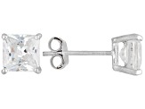 Bella Luce® 3.60ctw 6x6mm Princess Cut Rhodium Over Sterling Silver Stud Earrings