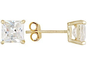 Bella Luce® 3.60ctw 6x6mm Princess Cut 18k Yellow Gold Over Sterling Silver Stud Earrings