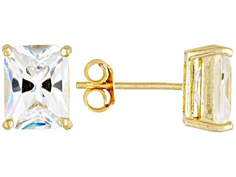 Bella Luce® 7.20ctw 9x7mm Emerald Cut 18k Yellow Gold Over Sterling Silver Stud Earrings