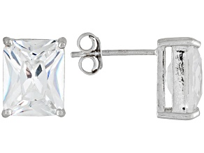 Bella Luce® 10.80ctw 10x8mm Emerald Cut Rhodium Over Sterling Silver Stud Earrings