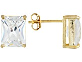 Bella Luce® 10.80ctw 10x8mm Emerald Cut 18k Yellow Gold Over Sterling Silver Stud Earrings