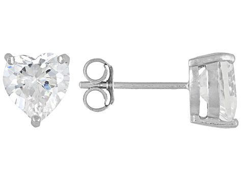 Bella Luce 7ctw 7mm Heart Cubic Zirconia Sterling Silver Solitaire Stud Earrings