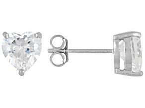 Bella Luce 7ctw 7mm Heart Cubic Zirconia Sterling Silver Solitaire Stud Earrings