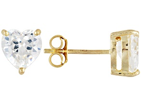 Bella Luce 7ctw 7mm Heart Cz 18kt Gold Over Sterling Silver Stud Earrings