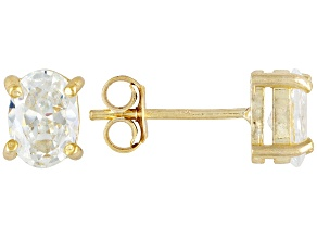 Bella Luce® 2.88ctw 7x5mm Oval 18k Yellow Gold Over Sterling Silver Stud Earrings
