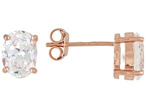 Bella Luce 3ctw Oval Cubic Zirconia 18k Rose Gold Over Silver Stud Earrings