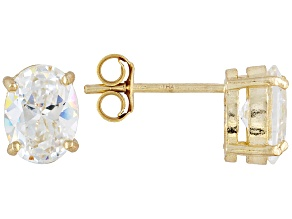 Bella Luce 3ctw Oval Cubic Zirconia 18k Gold Over Silver Solitaire Stud Earrings