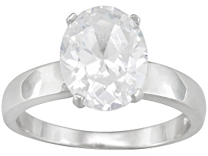 Bella Luce® 5.40ct Oval Rhodium Over Sterling Silver Solitaire Ring