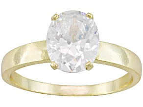 Bella Luce® 5.40ct Oval 18k Yellow Gold Over Sterling Silver Solitaire Ring
