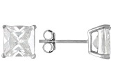 Bella Luce® 5.40ctw 7x7mm Princess Cut Rhodium Over Sterling Silver Stud Earrings