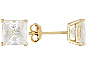Bella Luce® 5.40ctw 7x7mm Princess Cut 18k Yellow Gold Over Sterling Silver Stud Earrings