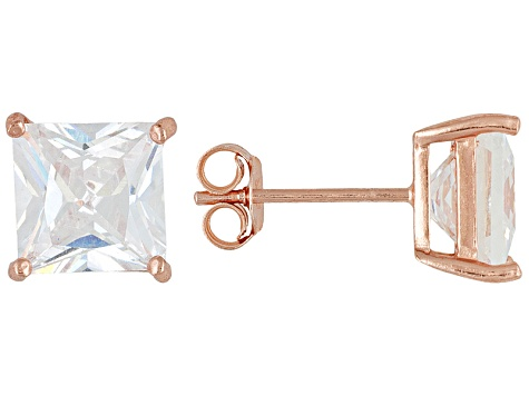 Bella Luce 9ctw 8x8mm Princess Cut Cz 18k Rose Gold Over Silver Stud Earrings
