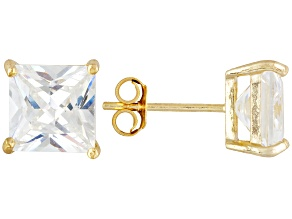 Bella Luce® 9.00ctw 8x8mm Princess Cut 18k Yellow Gold Over Sterling Silver Stud Earrings