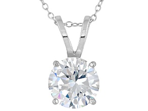 Bella Luce ® 7.20ct Solitaire Rhodium Over Sterling Silver Pendant With 18