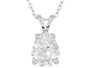 Bella Luce ® 5.40ct Pear Shape Solitaire Rhodium Over Sterling Silver Pendant With 17