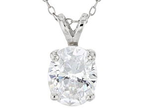 Bella Luce 5.4ctw Oval White Cubic Zirconia Sterling Silver   Pendant Necklace