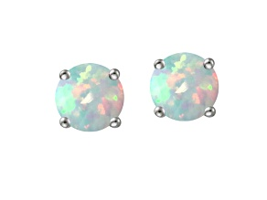 Bella Luce ® 1.60ctw Lab Created Opal Rhodium Oversterling Silver Earrings