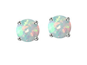 Bella Luce ® 2.90ctw Lab Created Opal Rhodium Over Sterling Silver Earrings