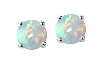Picture of Bella Luce ® 4.35ctw Lab Created Opal Rhodium Over Sterling Silver Earrings