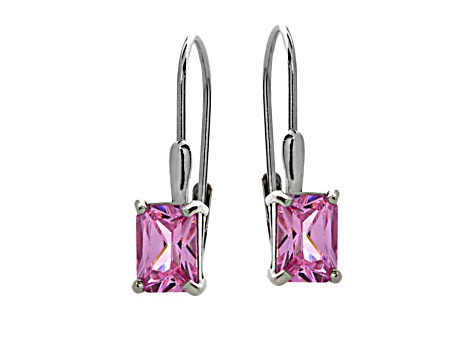 Pink Cubic Zirconia Sterling Silver Solitaire Earrings 3.65ctw