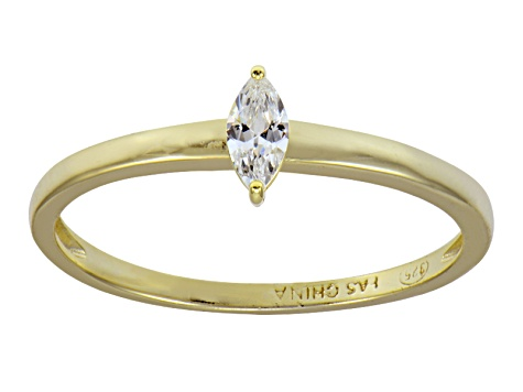 Bella Luce .25ct Marquise 18k Yellow Gold Over Sterling Silver Solitaire Ring
