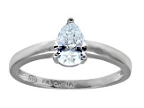 Bella Luce 1.15ct Pear Shape Rhodium Plated Sterling Silver Solitaire Ring