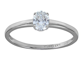 Bella Luce .70ct Oval Rhodium Plated Sterling Silver Solitaire Ring