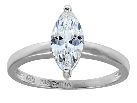 Bella Luce 1.70ct Marquise Rhodium Plated Sterling Silver Solitaire Ring