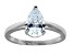 Bella Luce 1.80ct Pear Shape Rhodium Plated Sterling Silver Solitaire Ring
