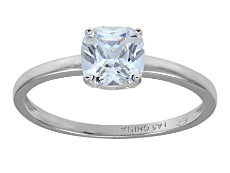 White Cubic Zirconia Rhodium Over Sterling Silver Solitaire Ring 1.70ct