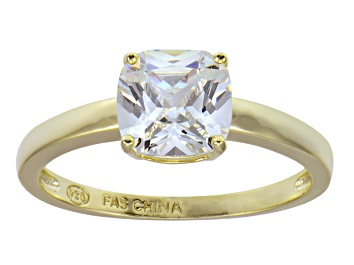 White Cubic Zirconia 18k Yellow Gold Over Silver Ring 2 75ctw