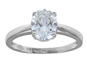 Bella Luce 3.00ct Oval Rhodium Over Sterling Silver Solitaire Ring