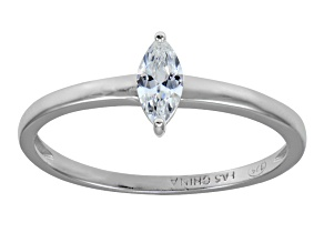 Cubic Zirconia Marquise Rhodium Over Sterling Silver Solitaire Ring .39ct