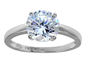 Bella Luce 4.45ct Round Rhodium Over Sterling Silver Solitaire Ring