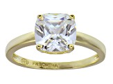 Cubic Zirconia 18k Yellow Gold Over Sterling Silver Solitaire Ring