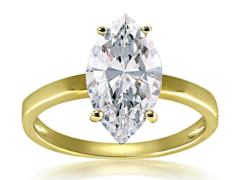 Bella Luce .57ct Marquise 18k Yellow Gold Over Sterling Silver Solitaire Ring