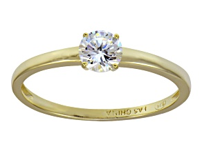 White Cubic Zirconia 18k Yellow Gold Over Sterling Silver Solitaire Ring .79ct