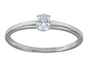 Bella Luce .33ctw Oval Rhodium Plated Sterling Silver Solitaire Ring
