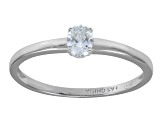 Cubic Zirconia Oval Rhodium Over Sterling Silver Solitaire Ring .35ctw