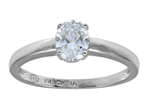 Bella Luce 1.20ct Oval Rhodium Plated Sterling Silver Solitaire Ring