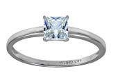 Bella Luce 1.15ct Princess Cut Rhodium Over Sterling Silver Solitaire Ring
