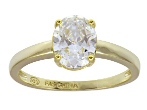 Bella Luce 3.00ct Oval 18k Yellow Gold Over Sterling Silver Solitaire Ring