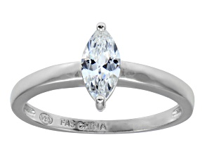 Cubic Zirconia Rhodium Over Sterling Silver Solitaire Ring .76ct