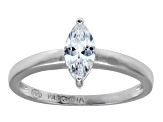 Bella Luce .76ct Marquise Rhodium Plated Sterling Silver Solitaire Ring