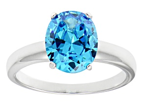 4.40ct Cubic Zirconia Rhodium Over Sterling Silver Solitaire Ring
