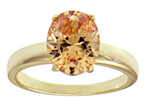 4.40ct Cubic Zirconia 18k Yellow Gold Over Sterling Silver Solitaire Ring