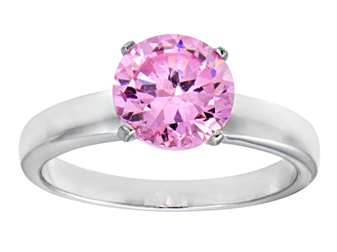 Pink Cubic Zirconia Rhodium Over Sterling Silver Solitaire Ring 3.40ct